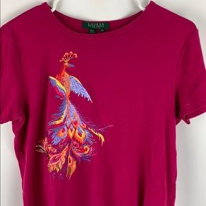 Lauren by Ralph Lauren pink embroidered peacock